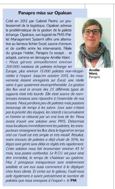 Dossier Supports de manutention Supply Chain Magazine Juillet Aout 2016