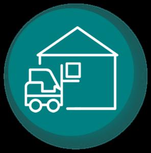 Optimisation stockage entrepôt et chargement logistique - icone fond vert